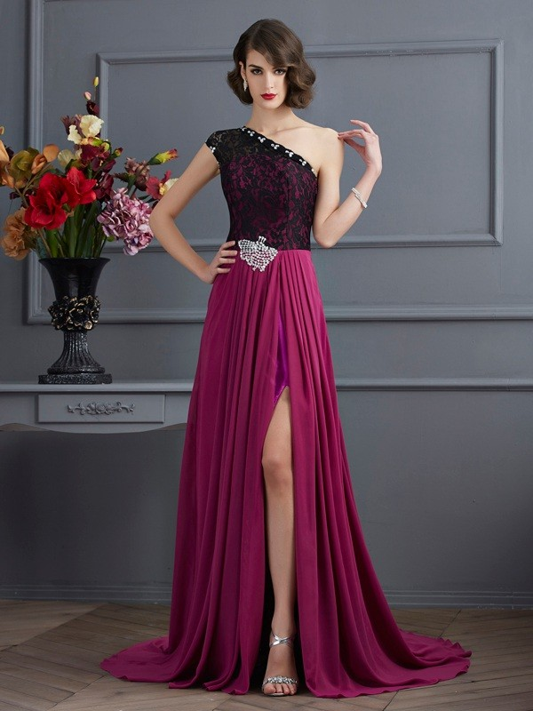 A-Line/Princess One-Shoulder Sleeveless Lace Long Chiffon Dresses