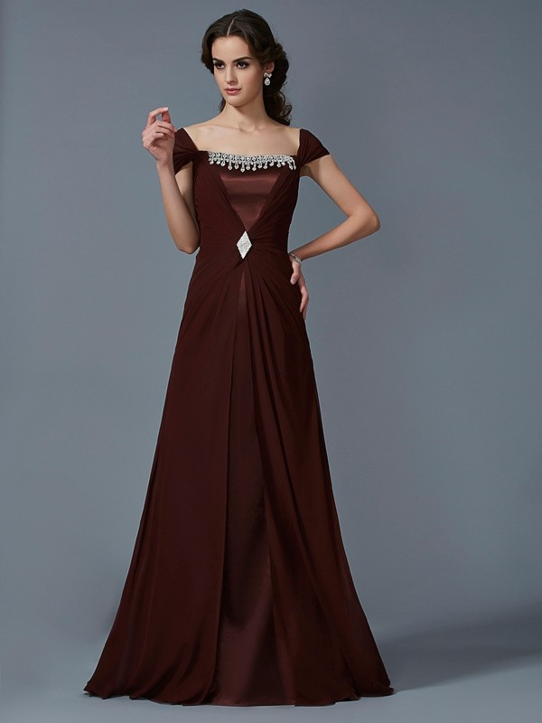 A-Line/Princess Strapless Short Sleeves Long Chiffon Dresses