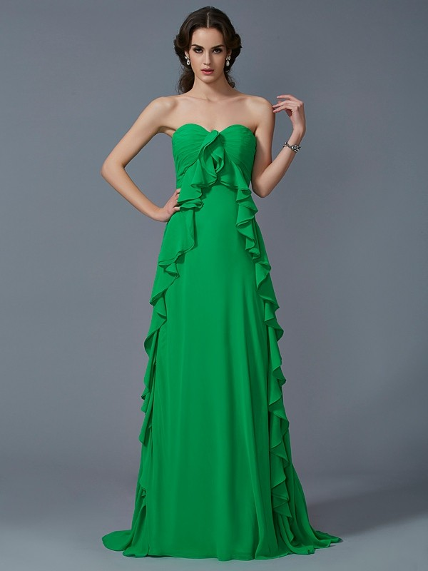 A-Line/Princess Sweetheart Sleeveless Ruffles Long Chiffon Dresses