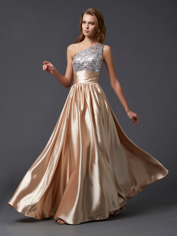 A-Line/Princess One-Shoulder Sleeveless Paillette Long Elastic Woven Satin Dresses