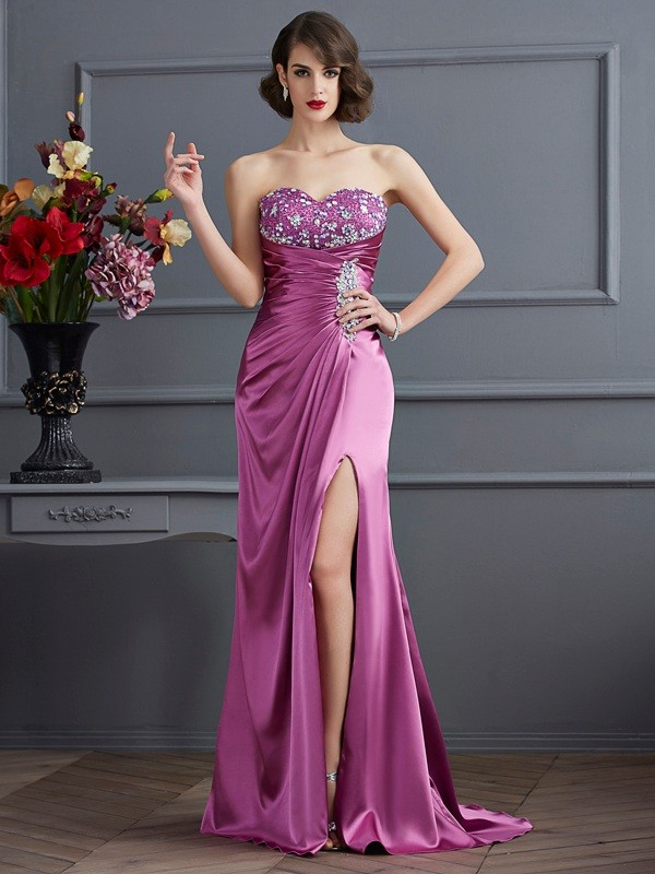 Sheath/Column Sweetheart Sleeveless Beading Long Elastic Woven Satin Dresses