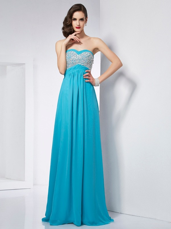 A-Line/Princess Sweetheart Sleeveless Long Chiffon Dresses