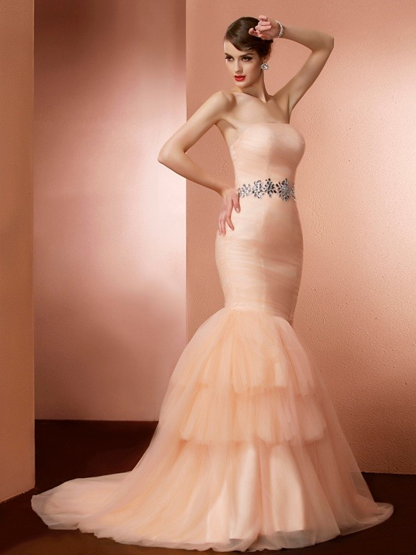 Trumpet/Mermaid Strapless Sleeveless Beading Long Net Dresses