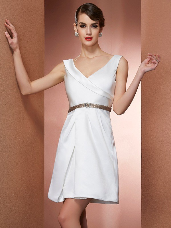 A-Line/Princess Straps Sleeveless Beading Short Satin Bridesmaid Dresses