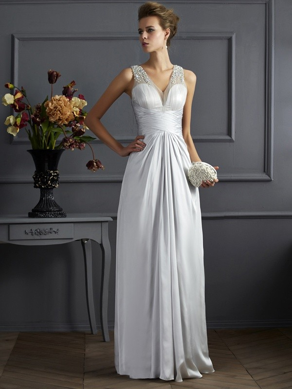 A-Line/Princess Straps Sleeveless Beading Long Silk like Satin Dresses