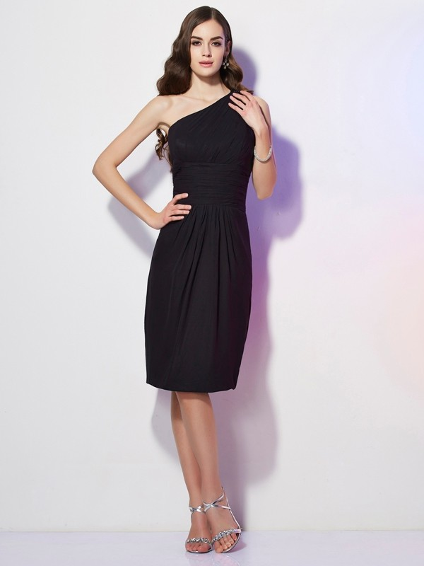 Sheath/Column One-Shoulder Sleeveless Beading Short Chiffon Bridesmaid Dresses