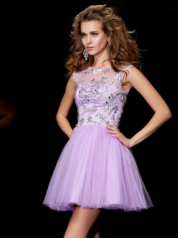 A-Line/Princess Bateau Short Sleeves Beading Short Satin Dresses