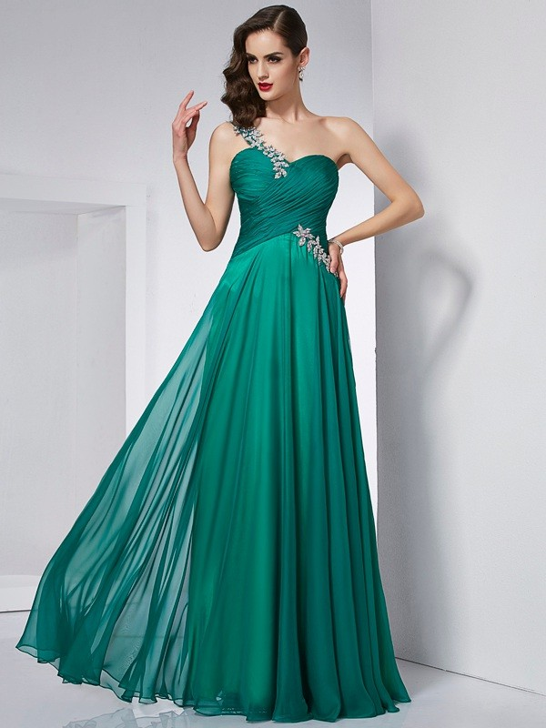 A-Line/Princess One-Shoulder Sleeveless Long Chiffon Dresses