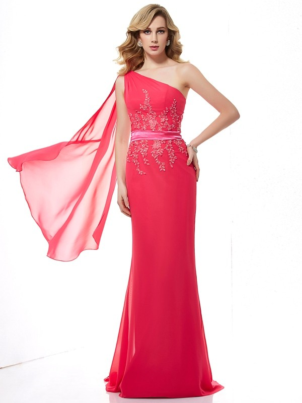 Sheath/Column One-Shoulder Applique Sleeveless Beading Long Chiffon Dresses