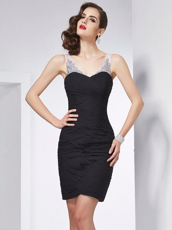 Sheath/Column Straps Sleeveless Beading Short Chiffon Dresses