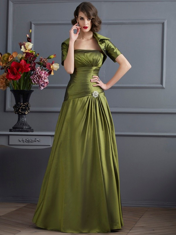 A-Line/Princess Strapless Sleeveless Beading Long Taffeta Mother of the Bride Dresses
