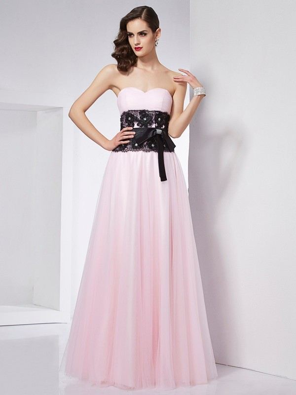 A-Line/Princess Sweetheart Sleeveless Lace Long Net Dresses