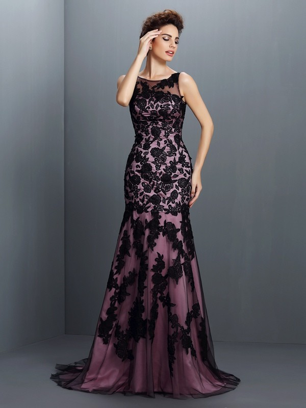 Trumpet/Mermaid Bateau Sleeveless Applique Floor-Length Elastic Woven Satin Dresses