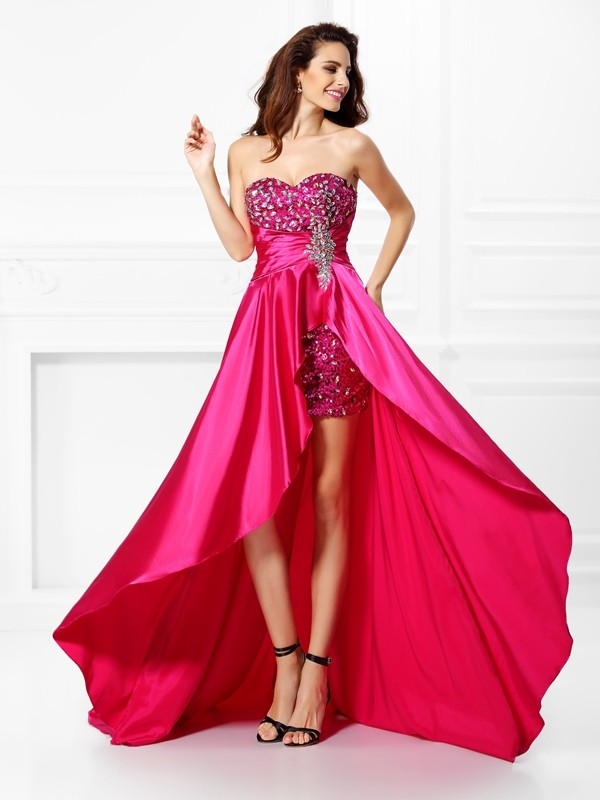 A-Line/Princess Sweetheart Beading Sleeveless High Low Elastic Woven Satin Dresses