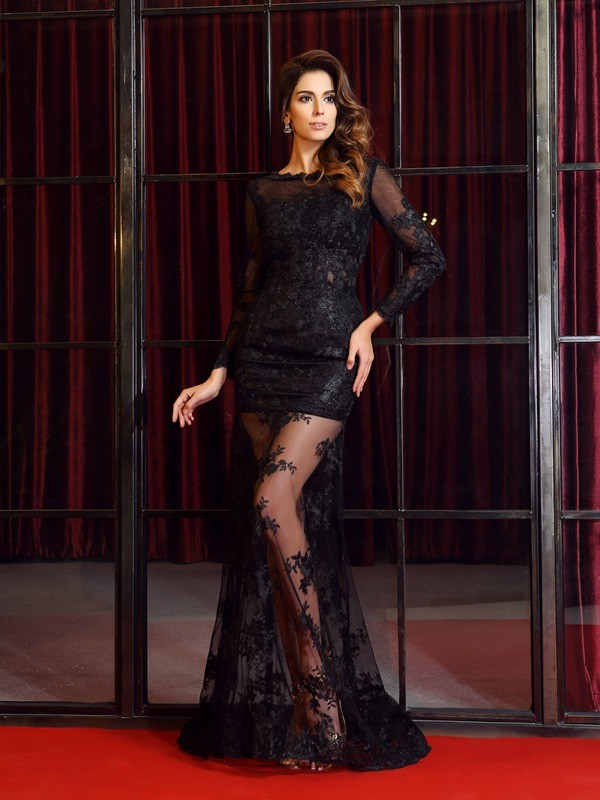 Trumpet/Mermaid Bateau Applique Long Sleeves Long Lace Dresses