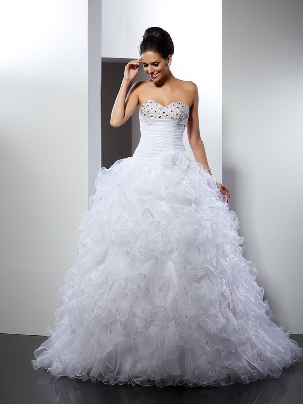 Ball Gown Sweetheart Beading Sleeveless Long Organza Wedding Dresses