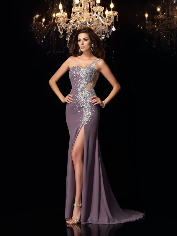 Trumpet/Mermaid One-Shoulder Rhinestone Sleeveless Long Chiffon Dresses