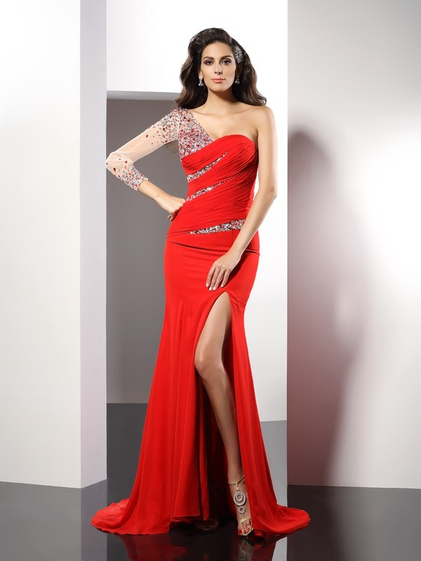 Sheath/Column One-Shoulder Beading 3/4 Sleeves Long Chiffon Dresses