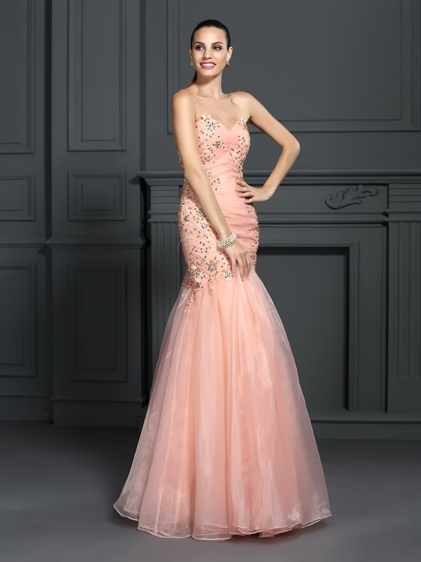 Trumpet/Mermaid Sweetheart Applique Sleeveless Long Organza Dresses