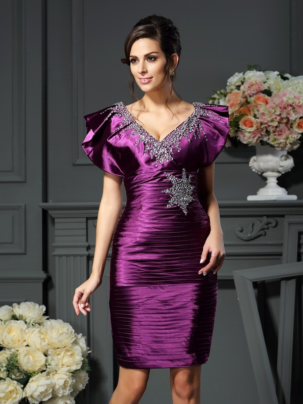 Sheath/Column V-neck Beading Sleeveless Short Elastic Woven Satin Mother of the Bride Dresses