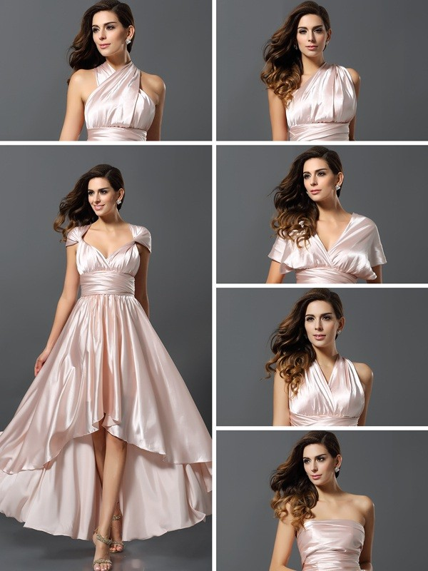 Sheath/Column Sleeveless High Low Silk like Satin Bridesmaid Dresses