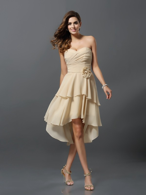 A-Line/Princess Sweetheart Hand-Made Flower Sleeveless High Low Chiffon Bridesmaid Dresses
