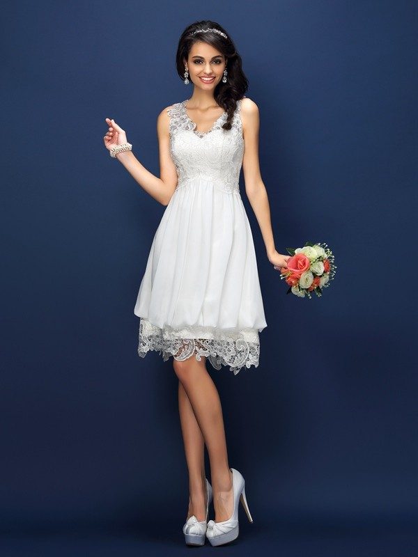 A-Line/Princess V-neck Lace Sleeveless Short Satin Bridesmaid Dresses