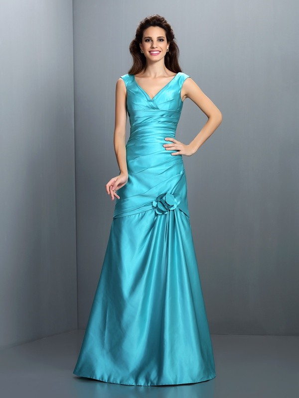 A-Line/Princess V-neck Pleats Sleeveless Long Satin Bridesmaid Dresses
