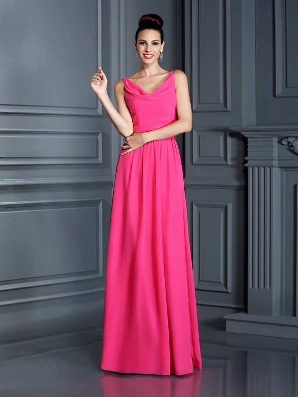 A-Line/Princess Spaghetti Straps Sleeveless Long Chiffon Bridesmaid Dresses