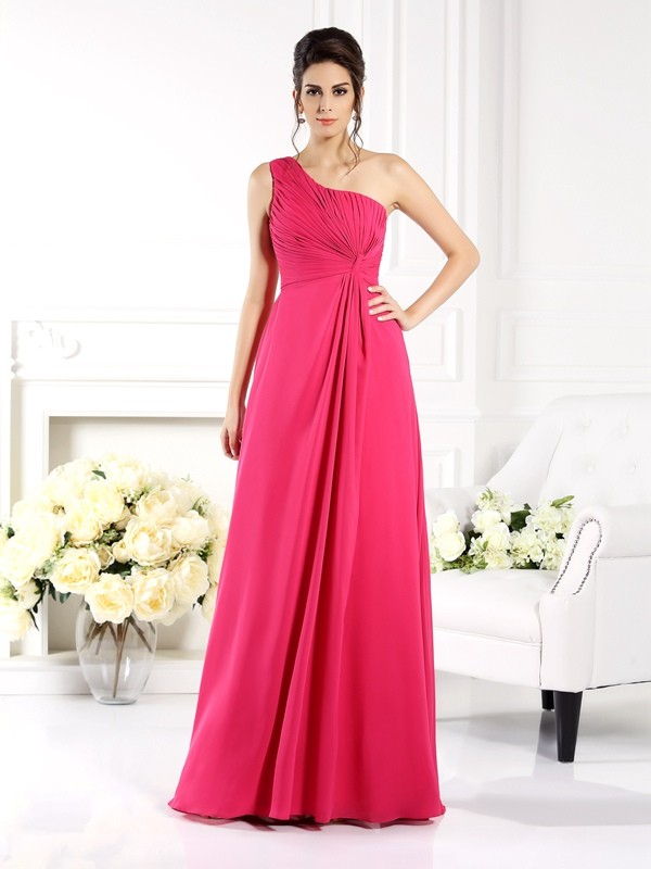 A-Line/Princess One-Shoulder Ruched Sleeveless Long Chiffon Bridesmaid Dresses