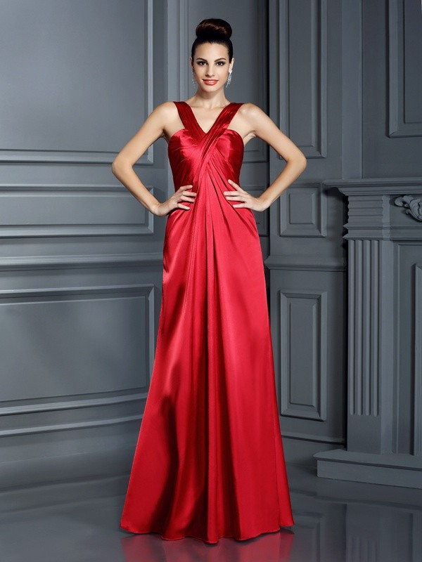 A-Line/Princess Straps Sleeveless Long Elastic Woven Satin Bridesmaid Dresses