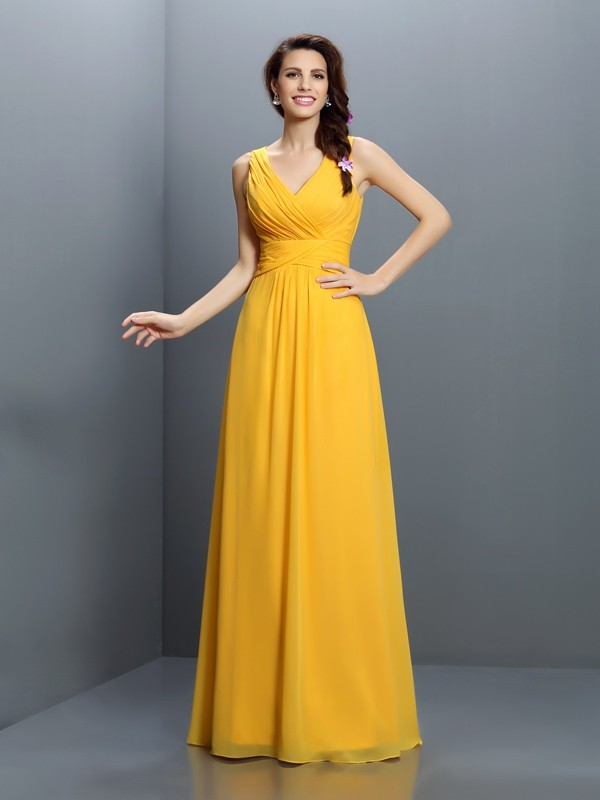 A-Line/Princess V-neck Pleats Sleeveless Long Chiffon Bridesmaid Dresses