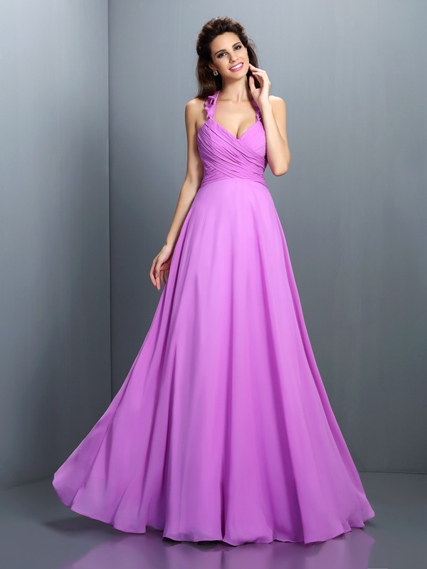 A-Line/Princess Halter Pleats Sleeveless Long Chiffon Bridesmaid Dresses