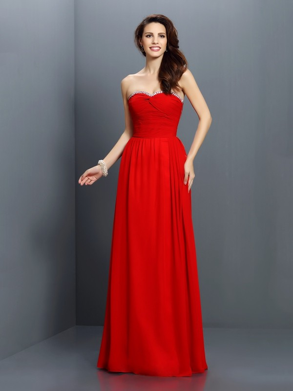 A-Line/Princess Sweetheart Beading Sleeveless Long Chiffon Bridesmaid Dresses