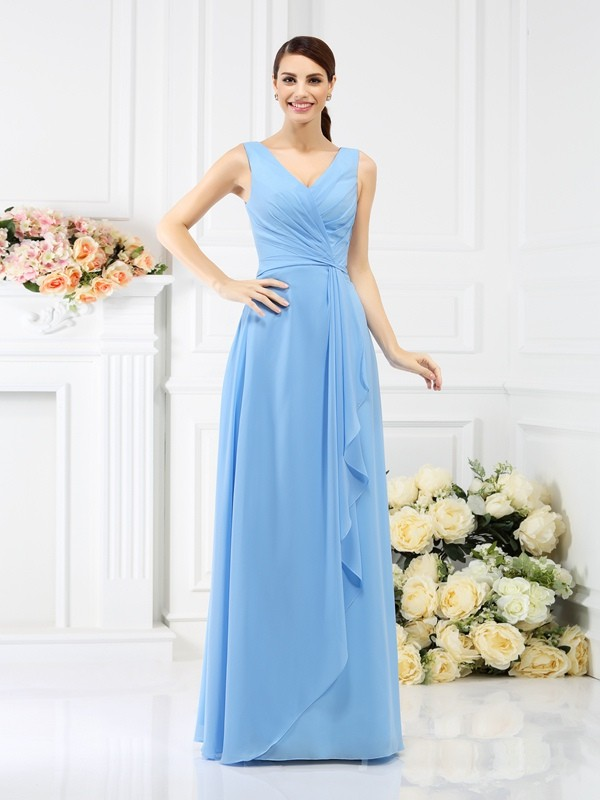 Sheath/Column V-neck Beading Sleeveless Long Chiffon Bridesmaid Dresses