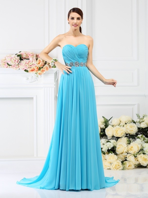 A-Line/Princess Sweetheart Beading Pleats Sleeveless Long Chiffon Bridesmaid Dresses