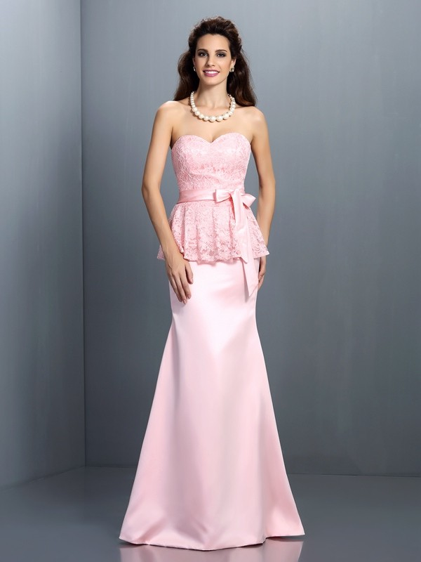 Trumpet/Mermaid Sweetheart Lace Sleeveless Long Satin Bridesmaid Dresses