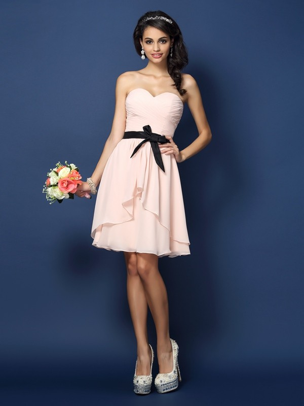 A-Line/Princess Sweetheart Sash/Ribbon/Belt Sleeveless Short Chiffon Bridesmaid Dresses