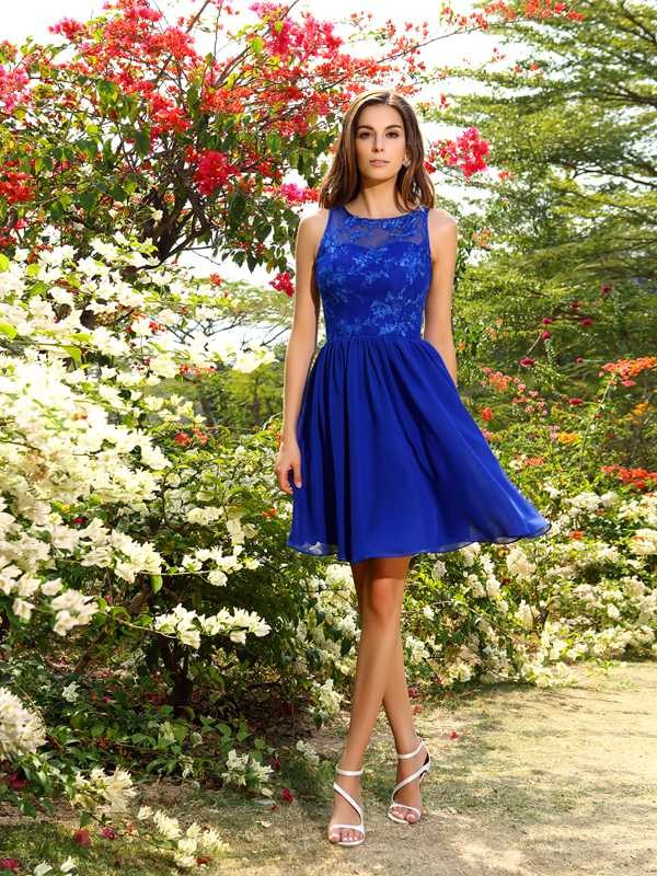 A-Line/Princess Bateau Applique Sleeveless Short Chiffon Bridesmaid Dresses