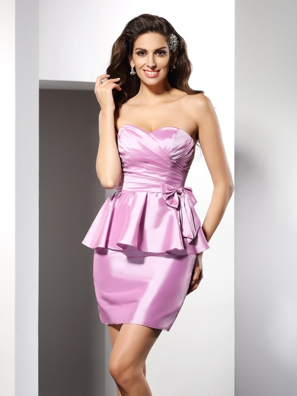 Sheath/Column Sweetheart Bowknot Sleeveless Short Taffeta Cocktail Dresses