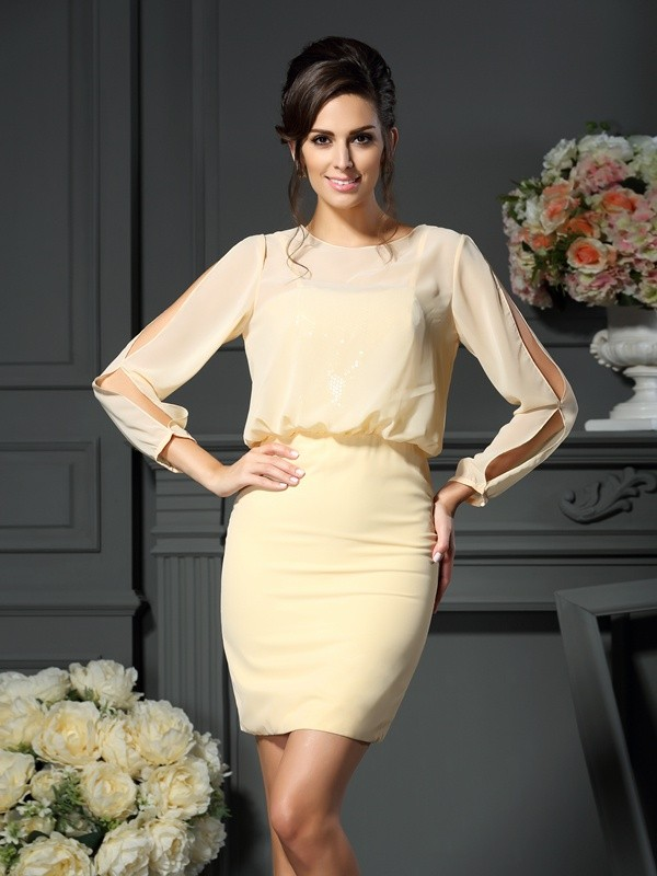 Sheath/Column Scoop Long Sleeves Short Chiffon Mother of the Bride Dresses