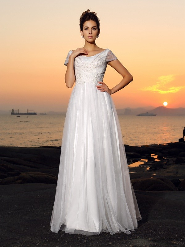 A-Line/Princess Off-the-Shoulder Beading Short Sleeves Long Tulle Beach Wedding Dresses