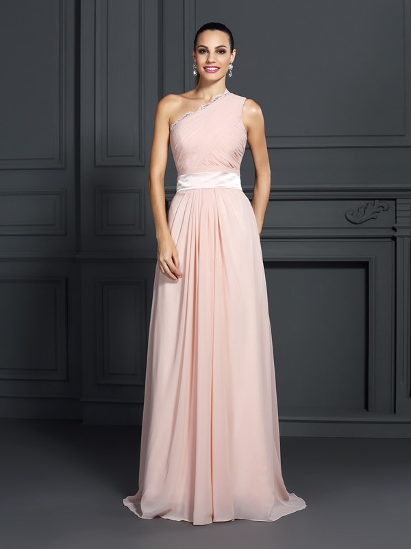 A-Line/Princess One-Shoulder Ruffles Sleeveless Long Chiffon Dresses