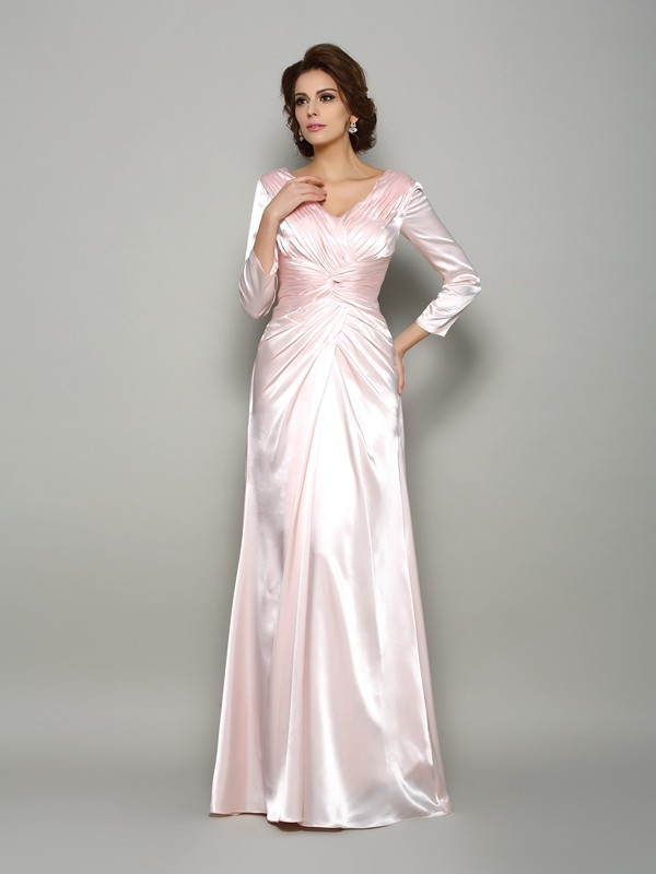 A-Line/Princess V-neck Ruched Long Sleeves Long Silk like Satin Mother of the Bride Dresses