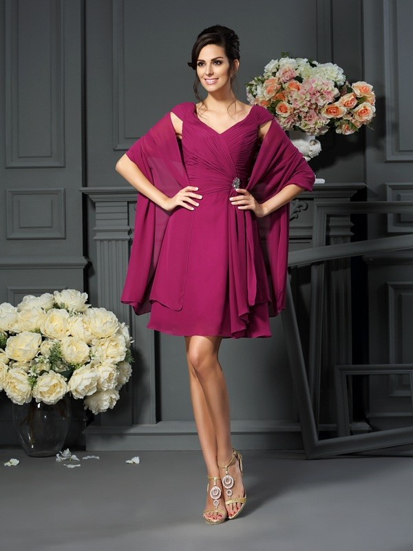 A-Line/Princess V-neck Pleats Sleeveless Short Chiffon Mother of the Bride Dresses