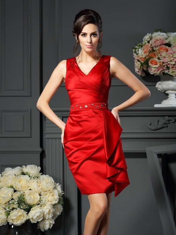 Sheath/Column V-neck Ruched Sleeveless Short Satin Mother of the Bride Dresses