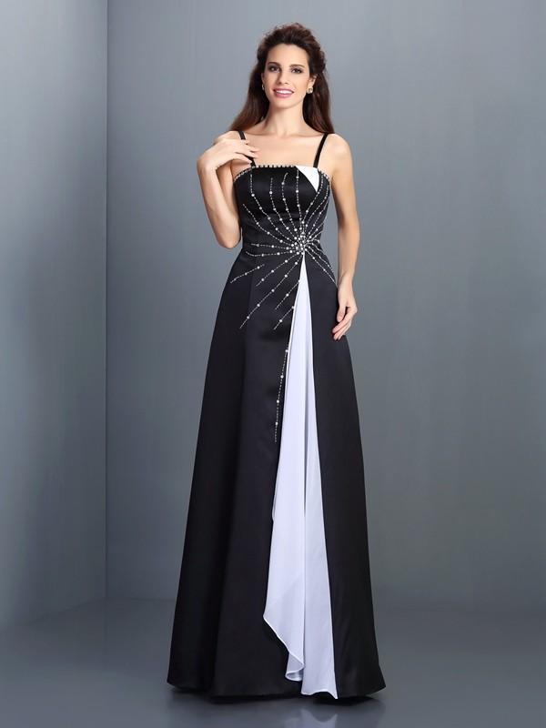 A-Line/Princess Spaghetti Straps Sleeveless Long Chiffon Dresses