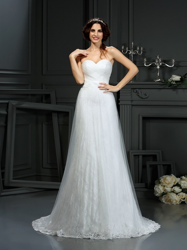A-Line/Princess Sweetheart Pleats Sleeveless Long Net Wedding Dresses