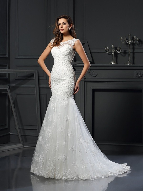 Trumpet/Mermaid Scoop Applique Short Sleeves Long Tulle Wedding Dresses