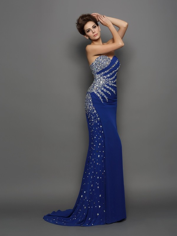Trumpet/Mermaid Sweetheart Rhinestone Sleeveless Long Chiffon Dresses